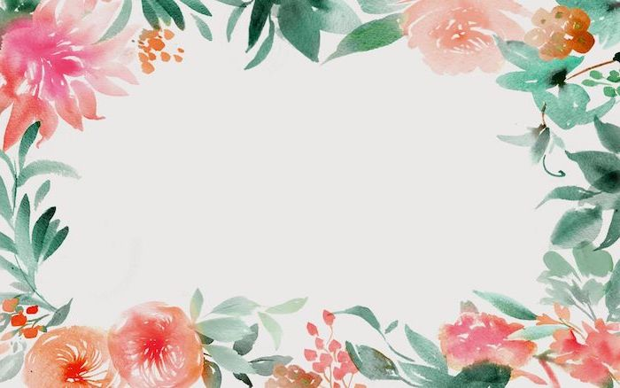 green leaves pink flowers drawn in watercolor around the edges of white background desktop backgrounds