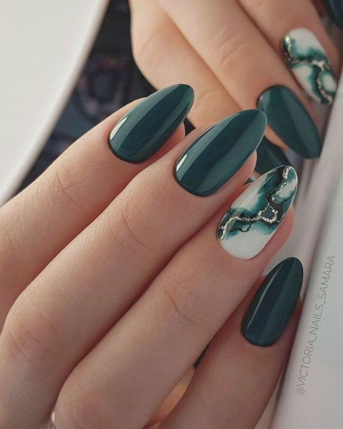 green nail polish on long almond nails summer nail designs green white black gold marble decorations on ring fingers