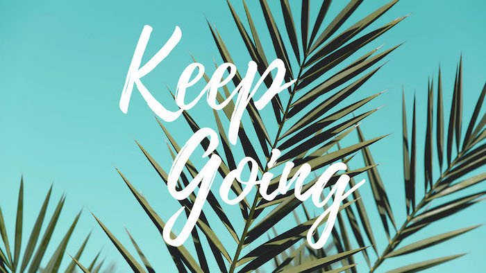 green palm leaves on turquoise background keep going written with white letters high resolution desktop backgrounds