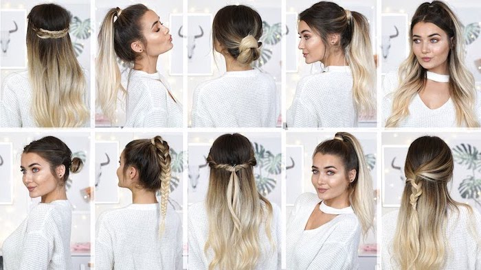hairstyles for teenage girls woman with long brunette hair with blonde balayage photo collage with different haristyles
