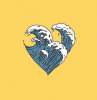 heart shaped wave in blue and white vsco wallpaper yellow background