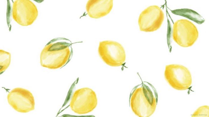 high resolution desktop backgrounds yellow lemons with green leaves drawn in watercolor on white background
