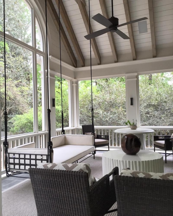 how to build a screened in porch black garden furniture set swing with white cushions cathedral ceiling with exposed wood beams