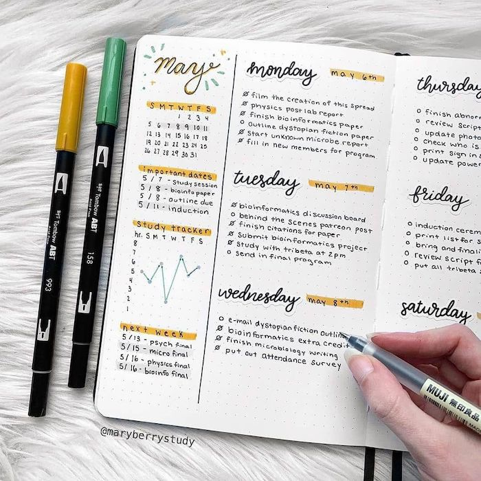 how to bullet journal weekly plan for each day of the week written with black pen on white notebook