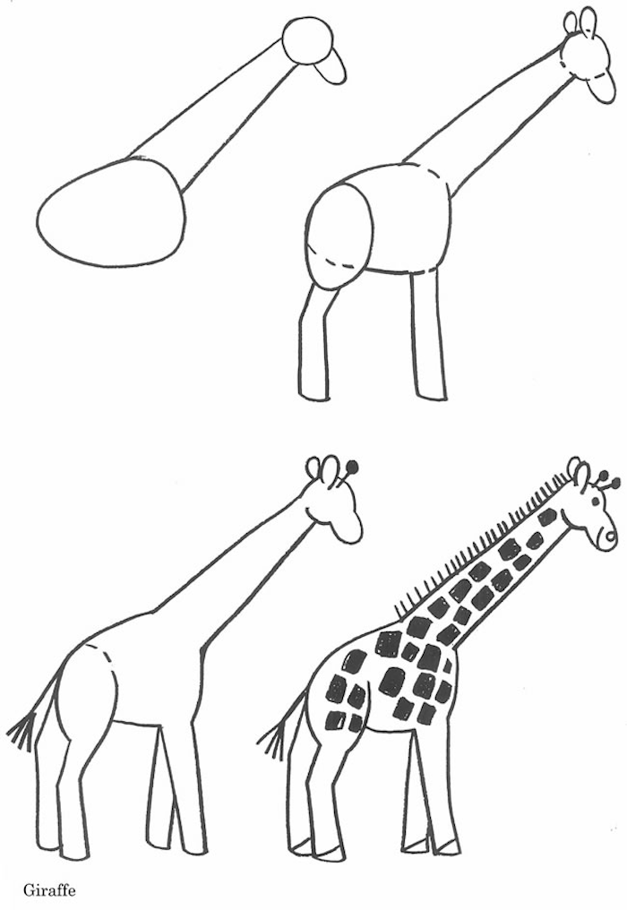 how to draw a giraffe in four steps simple animal drawings step by step diy tutorial for children