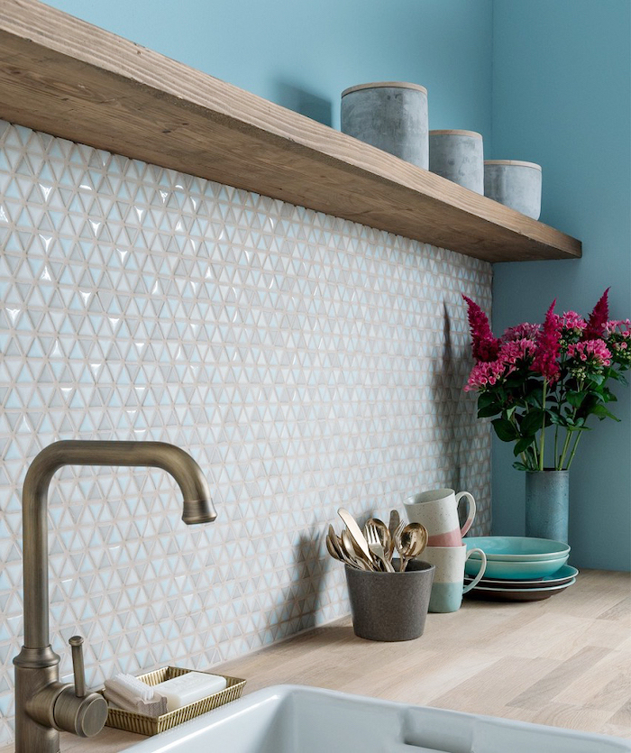 how to tile a backsplash blue wall wooden countertop mosaic white backsplash wooden shelf on the wall