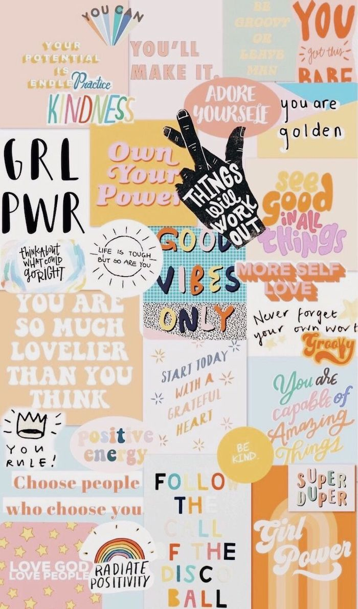 iphone cute backgrounds photo collage with different drawings and phrases good vibes only practice kindness