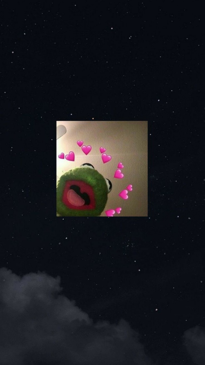 kermit the frog with pink hearts around him aesthetic vsco backgrounds photo of starry sky for background
