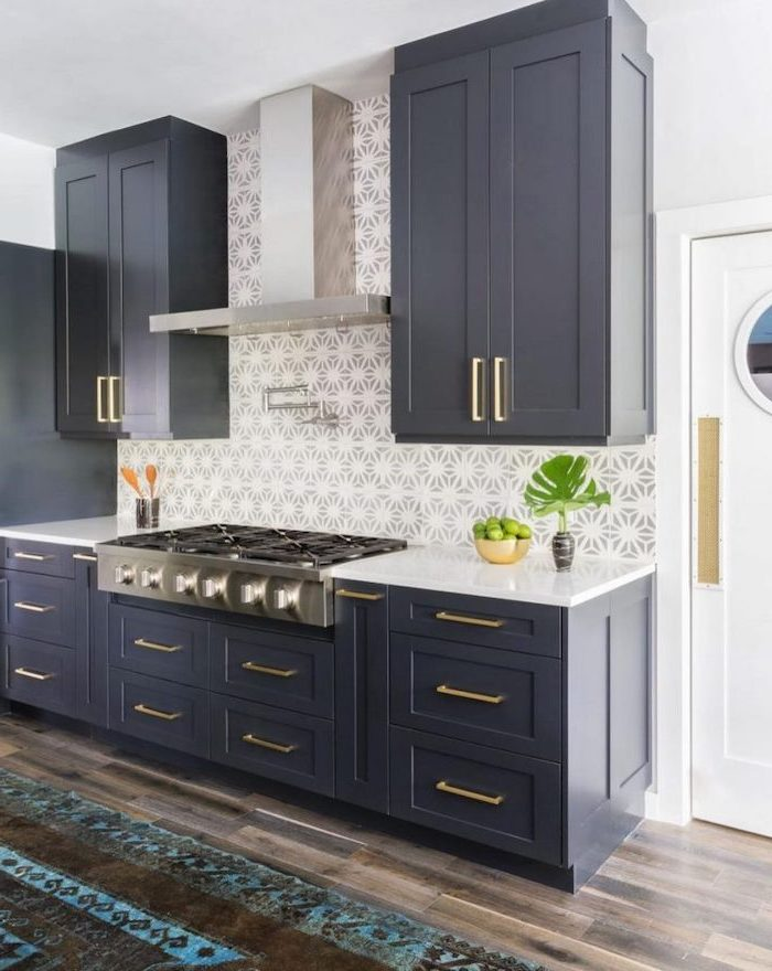 kitchen backsplash ideas with white cabinets black cabinets with white countertops patterned tiles in gray and white for backsplash
