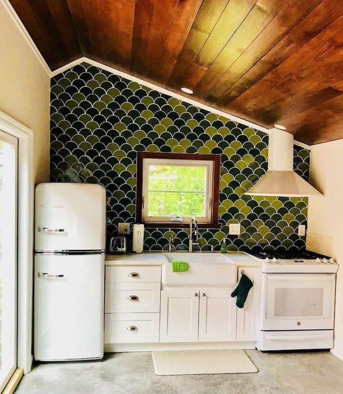 kitchen tile backsplash ideas tiles in different shades of green like fish scale white cabinets wooden ceiling