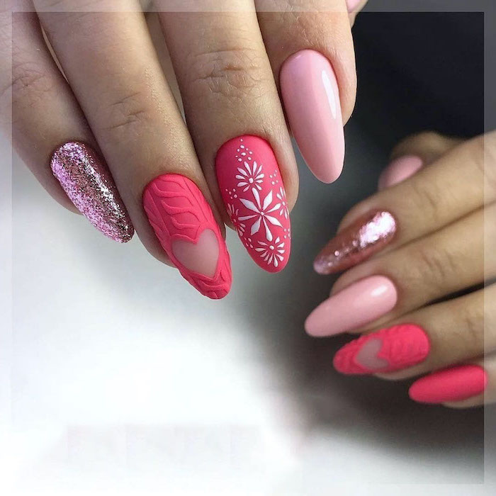 light pink glitter and dark pink matte nail polish cute acrylic nail designs decorations on ring and middle fingers long almond nails