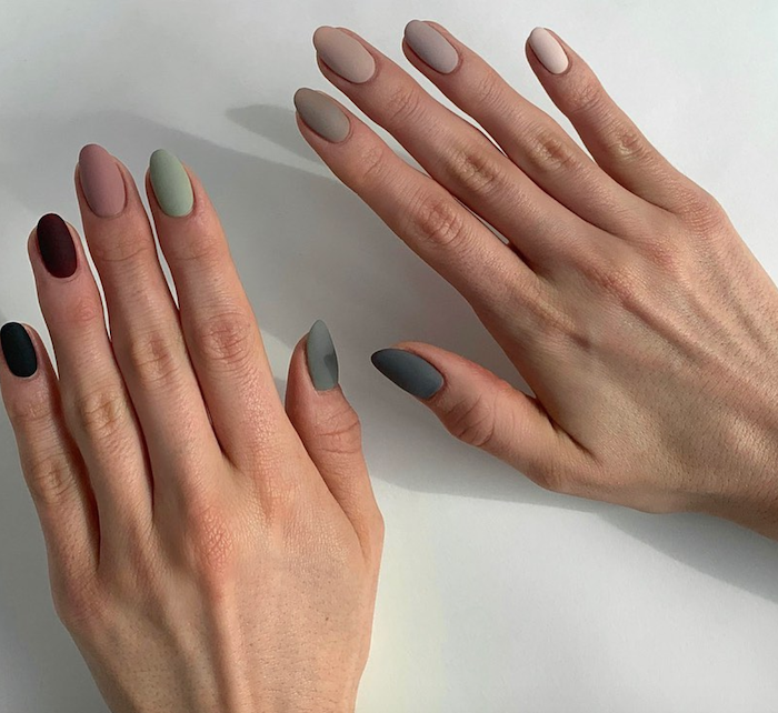 light to dark gray green red burgundy black matte nail polish on medium length almond nails cute acrylic nail designs