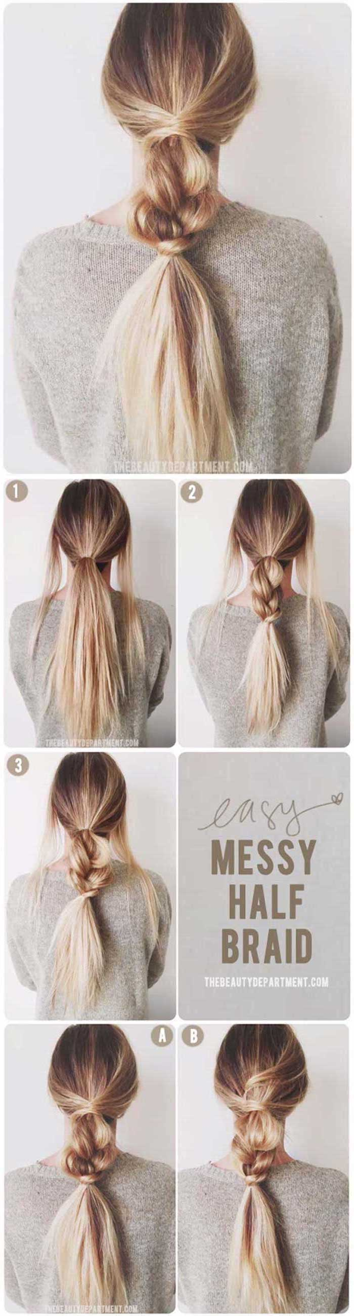 messy half braid photo collage of step by step diy tutorial cool hairstyles for girls done on brunette woman with blonde balayage