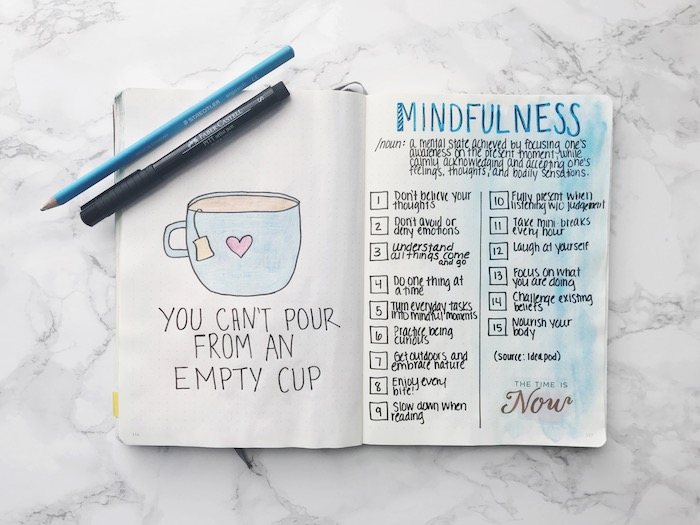 mindfulness log bullet journal pinterest you cant pour from an empty cup drawing of cup on white notebook