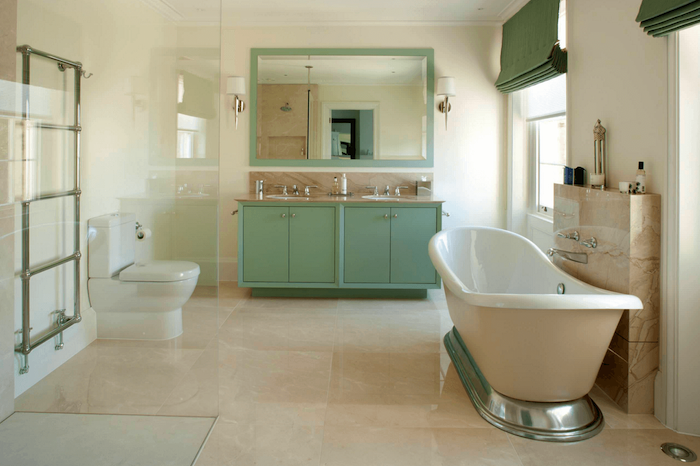 mint green cabinet with two sinks large mirror above them bathroom picture ideas white bathtub tiled floor in beige