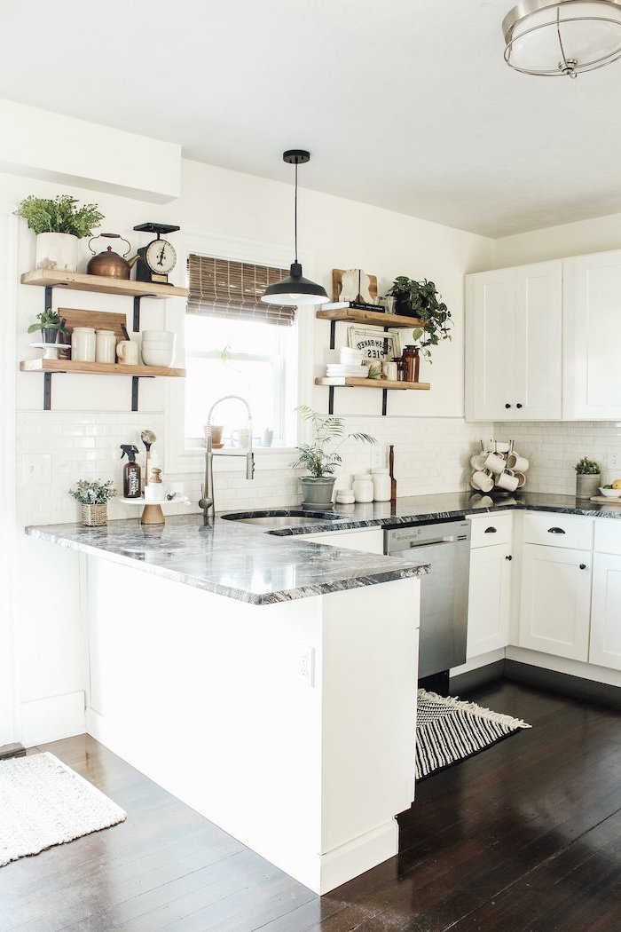 modern farmhouse decor ideas white cabinets and stone countertops dark wooden floor open shelving subway tiles backsplash