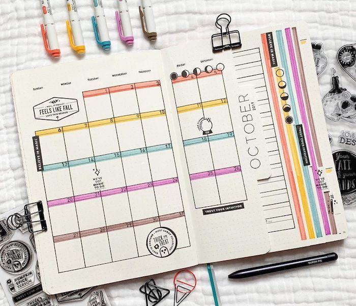monthly spread for october feels like fall written on top bullet journal pinterest white notebook