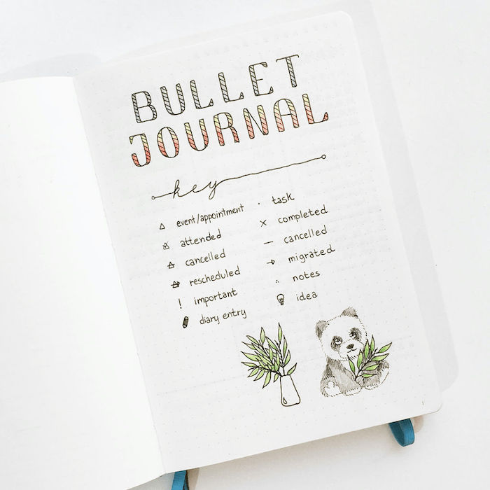 mood tracker bullet journal bullet journal key with a drawing of panda eating bamboo leaves drawn on white notebook
