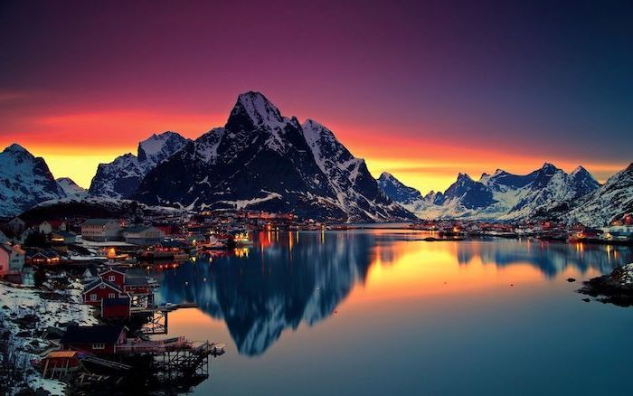 mountain landscape aesthetic computer wallpaper lake at sunset surrounded by small town with small houses