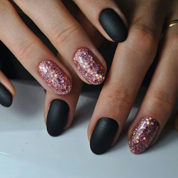 nail designs 2020 black matte nails polish with pink glitter on two fingers on each hand short almond shaped nails