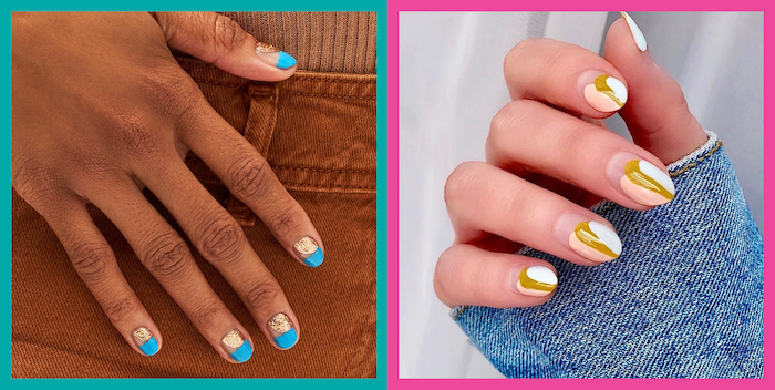 nail designs for short nails side by side photos short squoval nails with blue and gold glitter nail polish almond nails with nude yellow and white nail polish