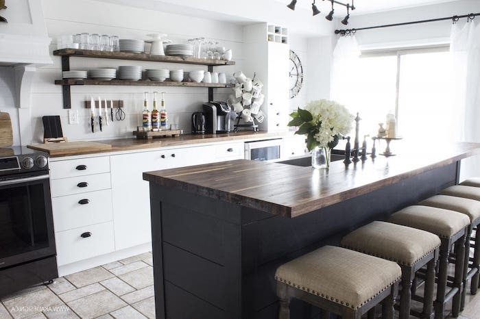 open shelving above white cabinets with wooden countertop modern farmhouse decor ideas black kitchen island wooden bar stools