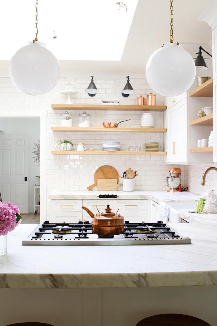 open shelving on white subway tiles farmhouse kitchen backsplash white cabinets with marble countertop