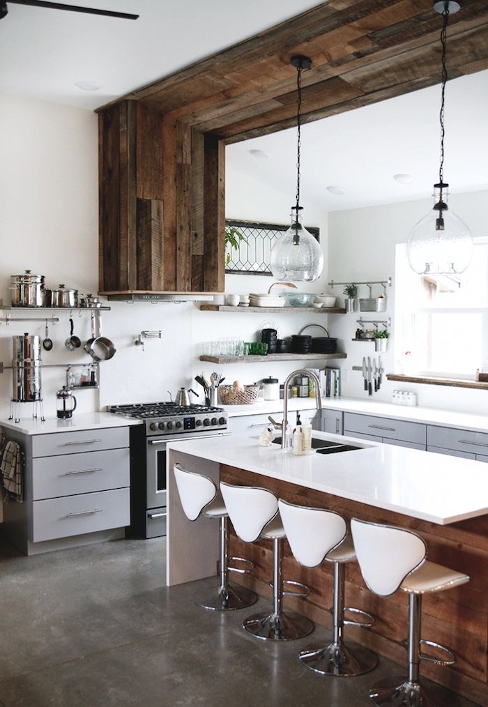 open shelving wooden accent on the wall and ceiling modern farmhouse kitchen decor wooden kitchen island with white countertop