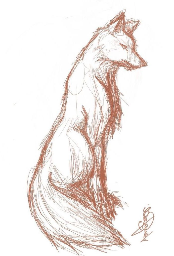 pencil sketch of fox with long tail cute animal drawings easy sketched with red pencil on white background