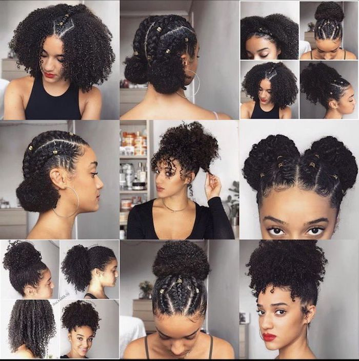 photo collage of different photos of woman with black curly hair with different hairstyles cute easy hairstyles for school