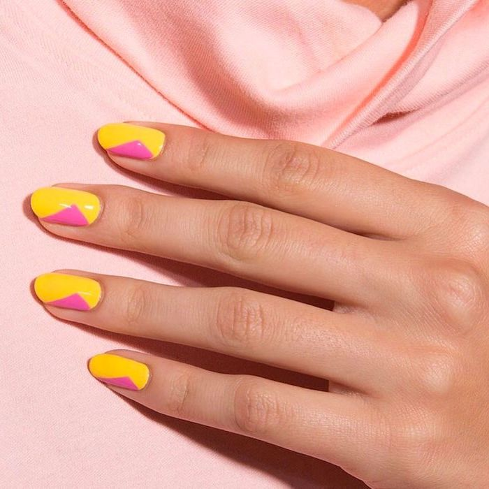 pink and yellow nail polish on short almond nails multi colored nails geometrical nail design