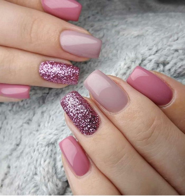 pink nail polish in different shades fall nail designs pink glitter on the ring fingers medium length square nails