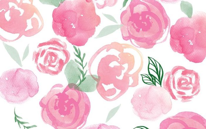 pink roses with green leaves drawn in watercolor cute wallpapers for laptop white background
