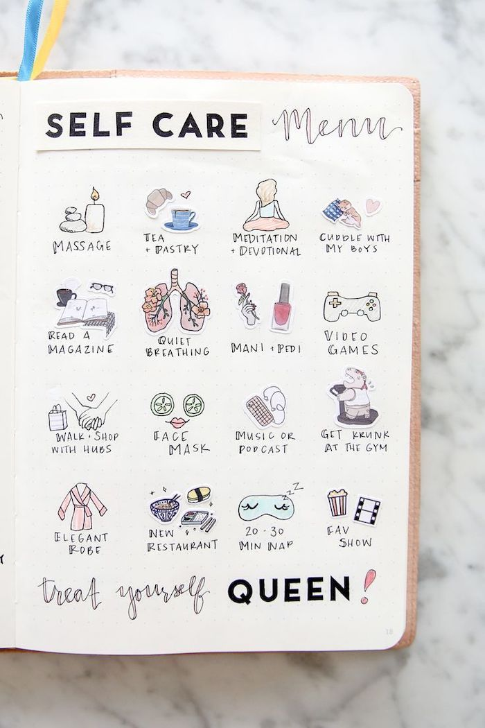 self care menu with drawings on white notebook bullet journal themes treat yourself queen written underneath