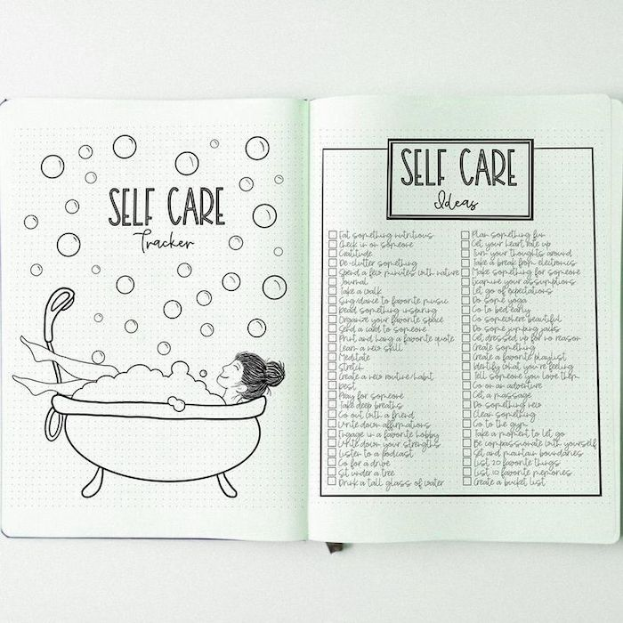 self care tracker page and ideas how to bullet journal drawing of woman in bathtub with bubbles around her drawn on white notebook