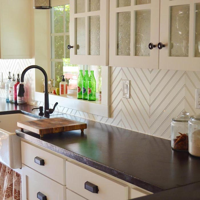 shiplap in white for backsplash white cabinets with glass doors with black granite countertop kitchen backsplash ideas