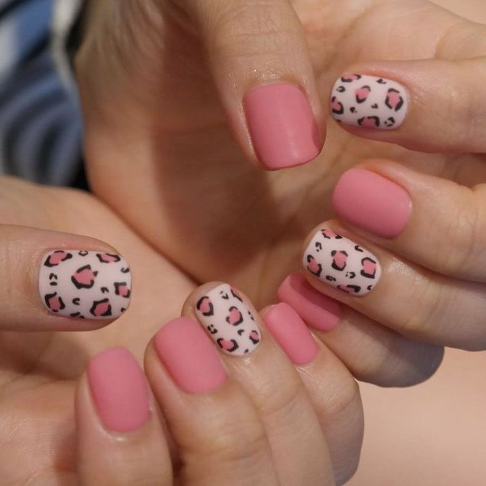 short nail designs pink matte nail polish leopard print on different nails short squoval nails