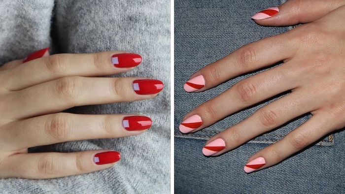 side by side photos of geometrical nails summer nail designs red with purple nail polish and pink with red nail polish short squoval nails