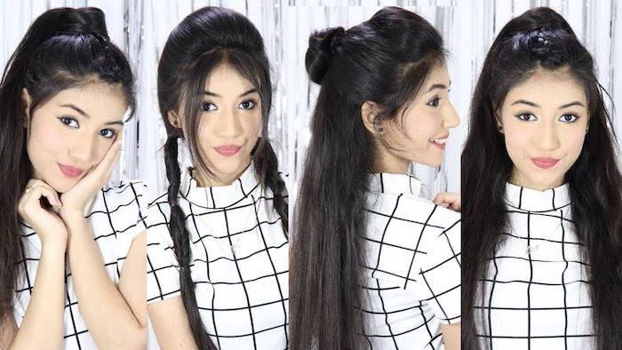 side by side photos of girl with long straight black hair back to school hairstyles wearing it in different hairstyles