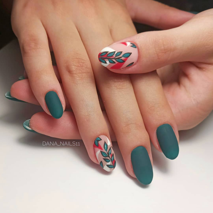 simple nail designs green matte nail polish simple nail designs decorations with leaves in green red white black on different fingers