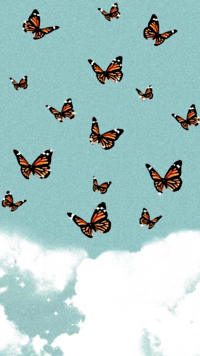sky in blue with white clouds iphone cute backgrounds orange black brown butterflies flying around