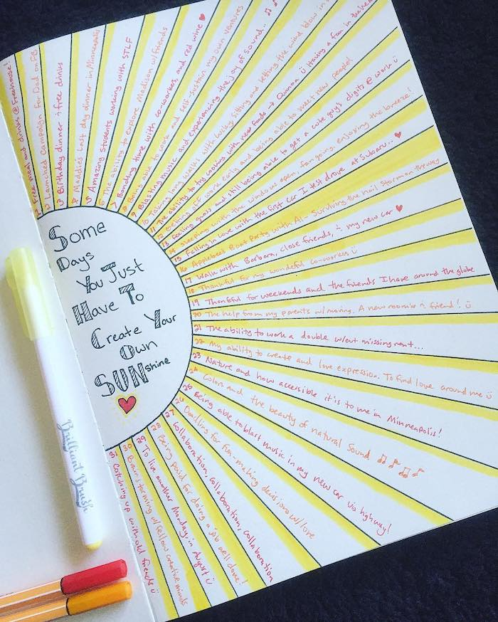 some days you just have to create your own sunshine bullet journal themes gratitude log for each day of the month