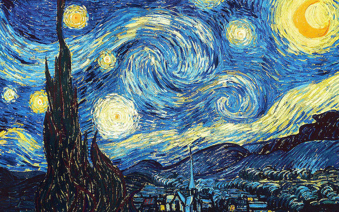 starry night painting by vincent van gogh cool computer backgrounds black blue and yellow aesthetic