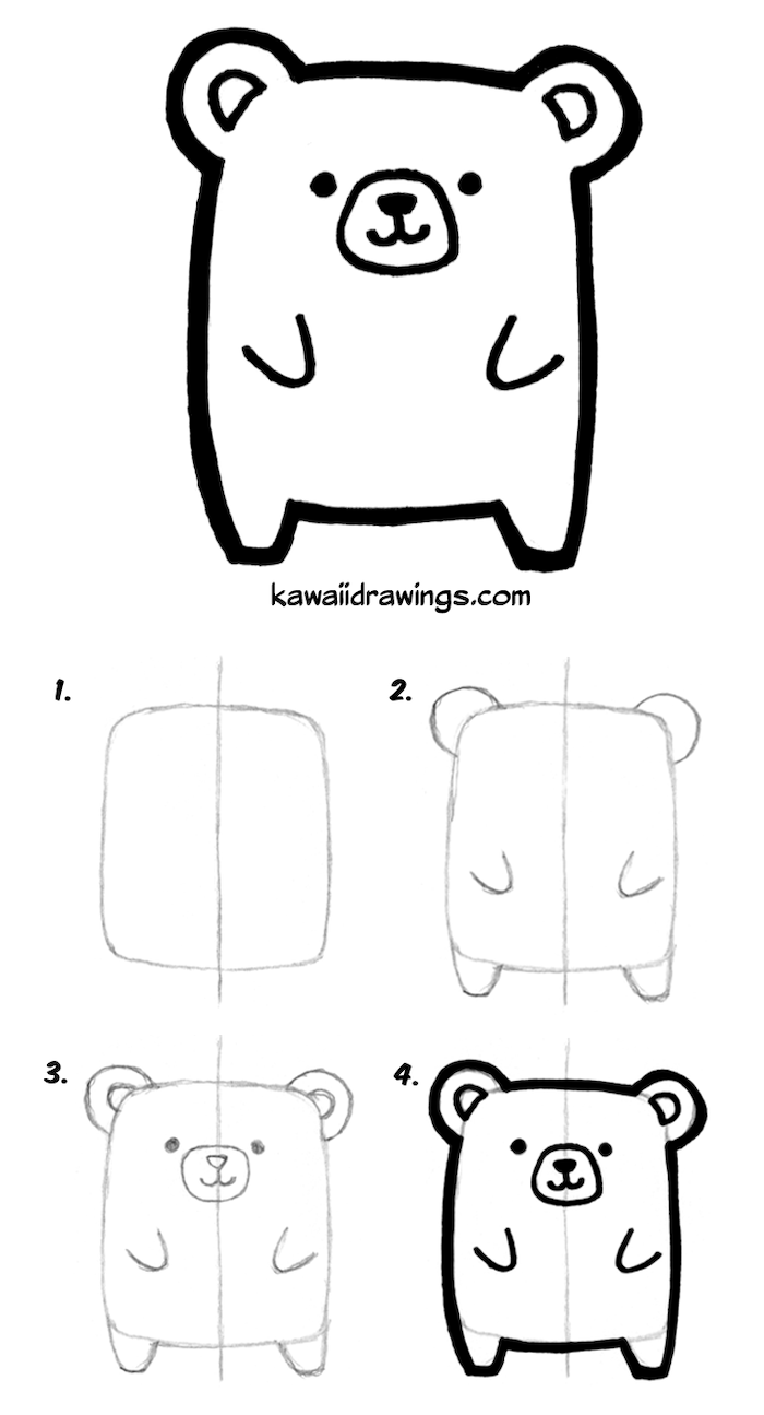 step by step diy tutorial how to draw a cartoon bear in four steps easy animals to draw black pencil sketch on white background