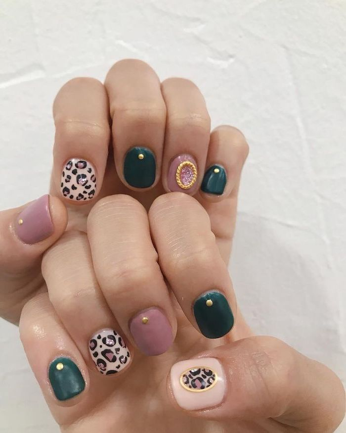 summer nail designs green and pink nail polish summer nail designs leopard print decoration on different fingers gold decorations on each finger