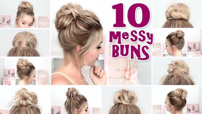 ten different ways to do messy buns back to school hairstyles photo collage of woman with blonde balayage hair