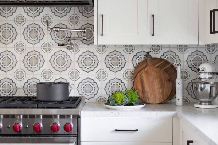 tiles with gray and white pattern for backsplash above stove kitchen backsplash tile white cabinets with white granite countertops