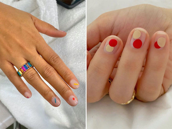 transperant nail polish with different colorful geometrical accents short nail designs side by side photos of short squoval nails
