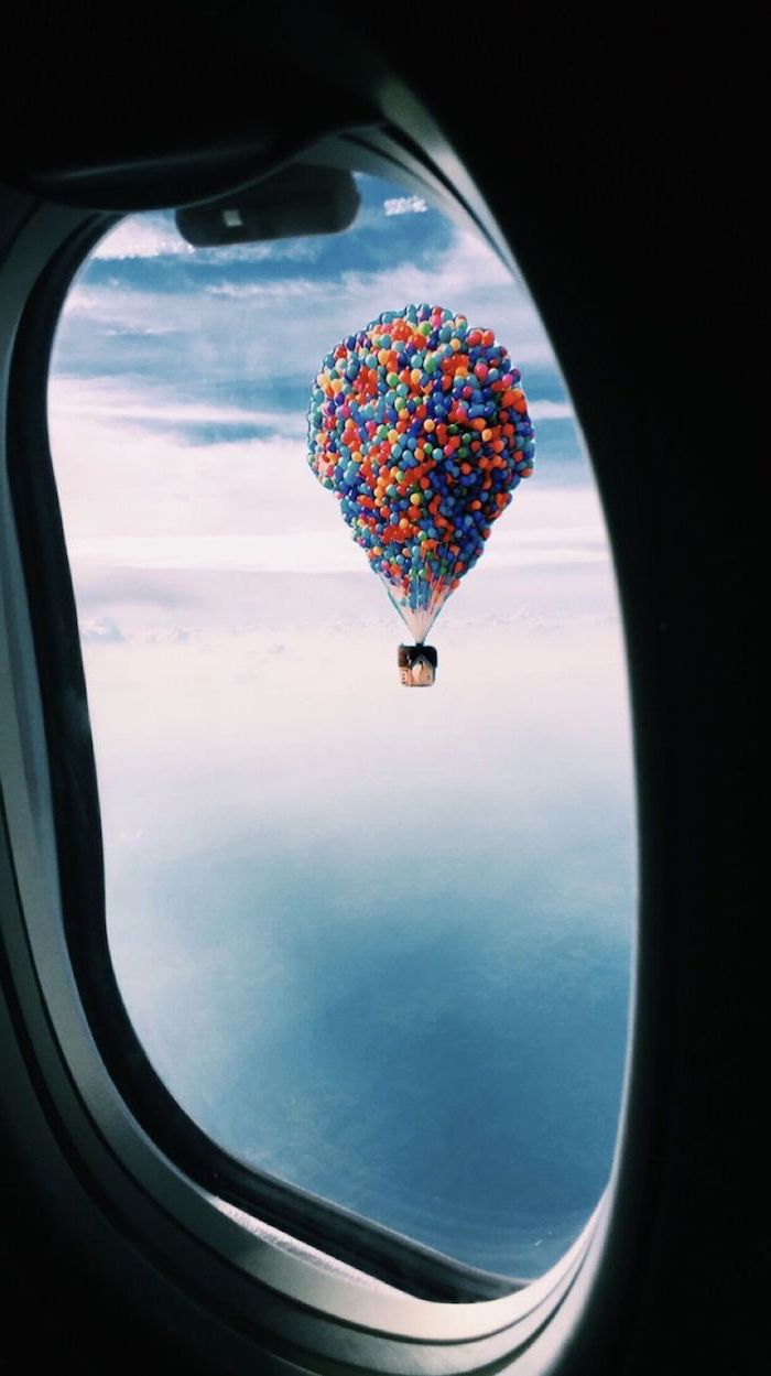 vsco backgrounds the house from up floating above the clouds with lots of balloons photographed from an airplane window