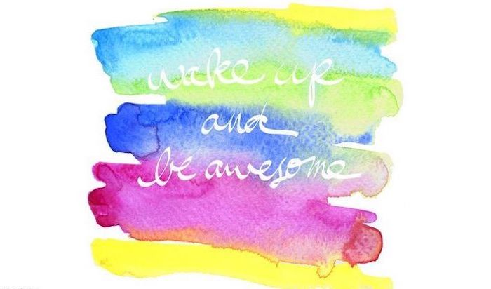 wake up and be awesome written in white letters with cursive font cute wallpapers for laptop rainbow watercolor brush strokes on white background